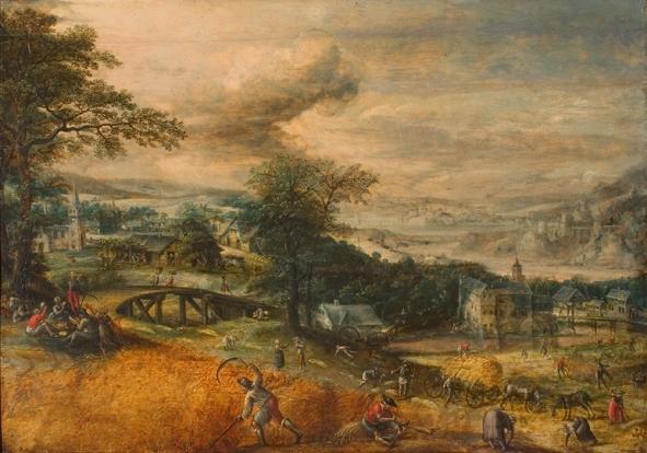 Martin van Valkenborch, Landschap met oogstende boeren uit 1565, Rijksmuseum Twenthe. De joodse juwelier Bernhard Albert Meyer uit Mainz liet het in 1934 veilen in Berlijn.