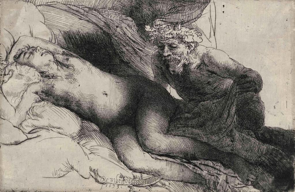 Rembrandt, 1659, Jupiter en Antiope. foto Museum Het Rembrandthuis