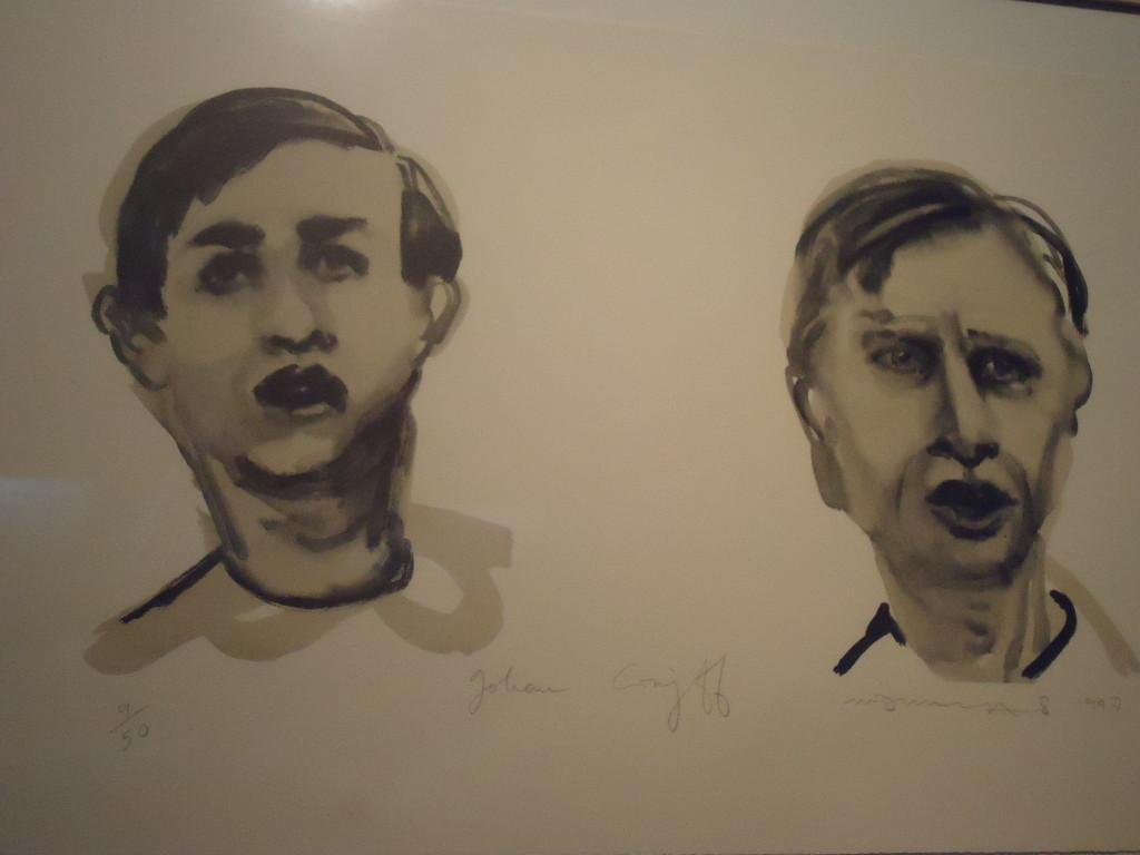 Dubbelportret Johan Cruijff van Marlene Dumas. Eigen foto
