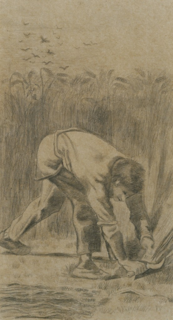 Vincent van Gogh, een maaier met sikkel naar Millet, 1880, Uehara Museum Shimoda Japan
