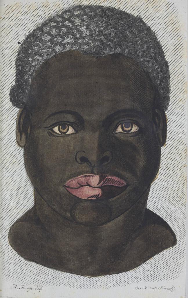 Portret van een zwarte man uit een van de vroegste publicaties over verschillen tussen blanke en donkere mensen, Samuel Thomas Sömmering, 1785, collectie Teylers Museum