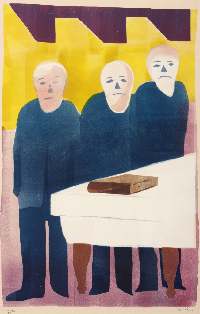 H.N. Werkman, Chassidische Legenden II: De drie aartsvaders, 1943, druksel, sjabloon, rolkant. Foto: Marten de Leeuw. Collectie Groninger Museum