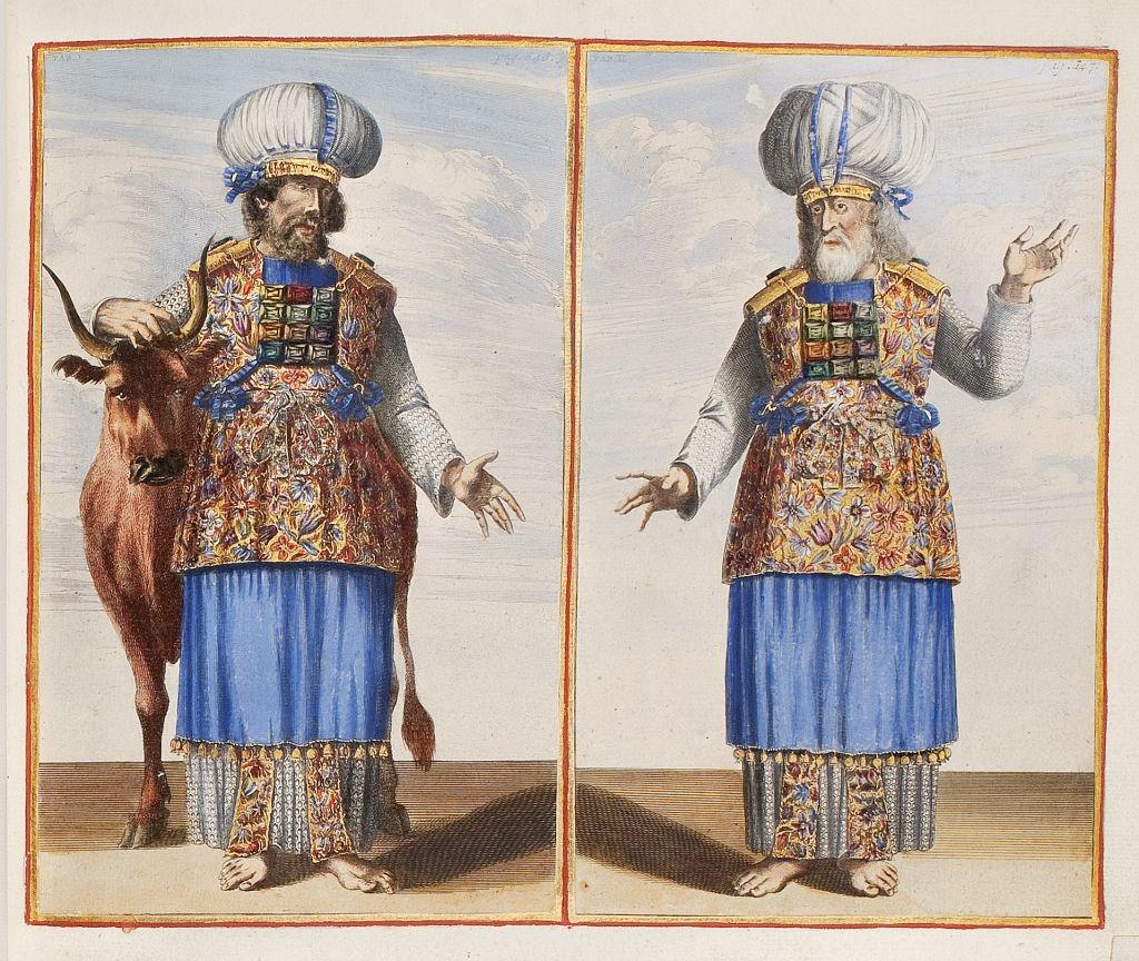 Aäron en Mozes als hogepriesters. Twee etsen, toegevoegd in 'Biblia, dat is de gantsche H. Schrifture', Dordrecht/Amsterdam, 1682. Afgezet en met goud gehoogd door Dirk Jansz van Santen