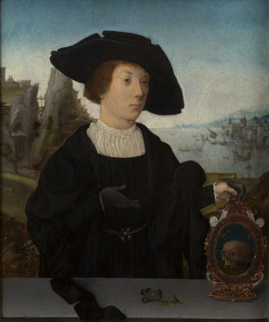 Toegeschreven aan Jan Mostaert, Portret van een man met schedel, ca 1520