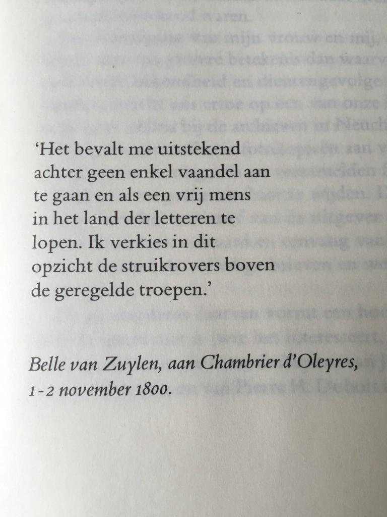Een citaat van Belle uit de biografie van het echtpaar Dubois