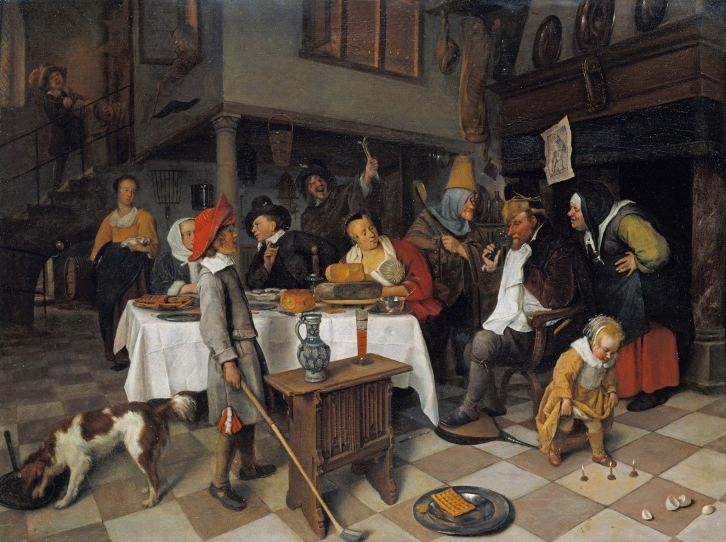 Jan Steen (1626-1679), Driekoningenfeest: De koning drinkt, ca. 1661, aangekocht door George IV, 1814, The Royal Collection