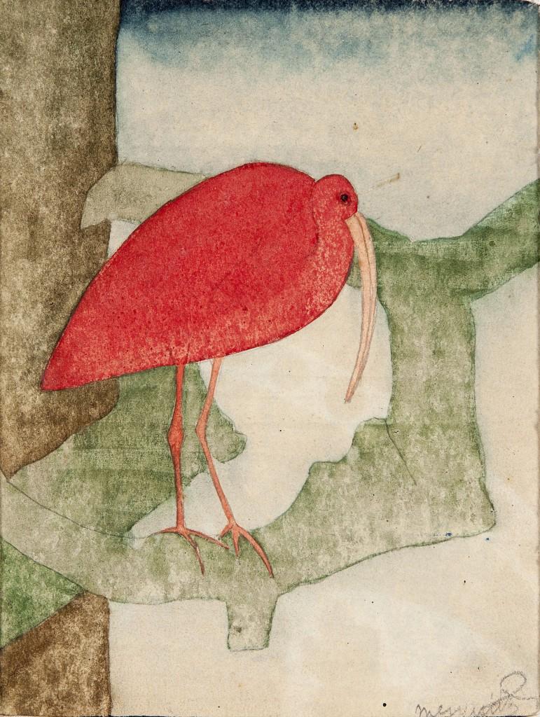 Samuel Jessurun de Mesquita, Rode ibis, aquarel ca. 1910, aangeboden aan Ted Musaph ter gelegenheid van haar 85ste verjaardag, collectie Joods Historisch Museum