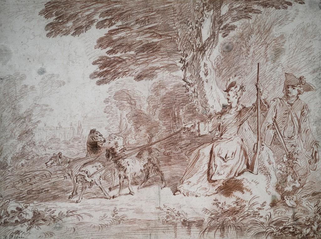 Antoine Watteau, Jachtpartij. Jager en jageres met vier honden in een landschap, ca. 1713, rood krijt, Städel Museum, Frankfurt am Main