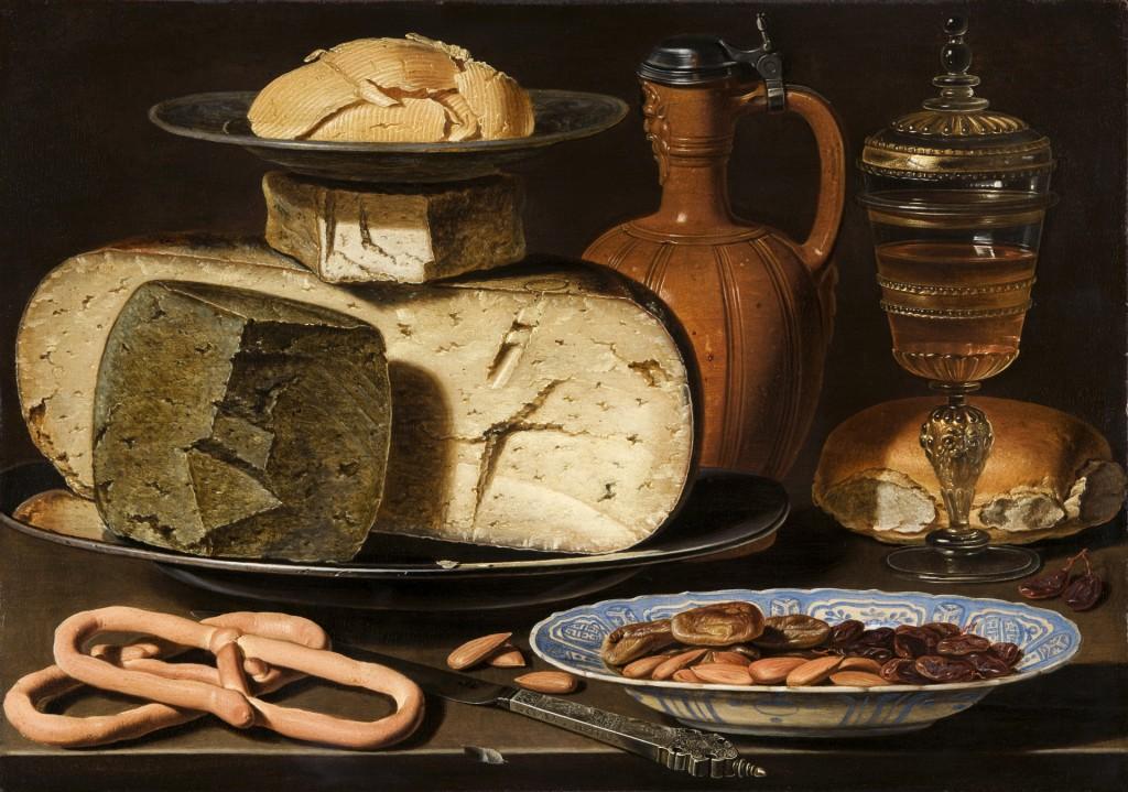 Clara Peeters. werkzaam in Antwerpen, ca. 1607 - 1621 of later, Stilleven met kazen, amandelen en krakelingen, ca. 1615, paneel, 34,5 x 49,5 cm, Den Haag, Mauritshuis