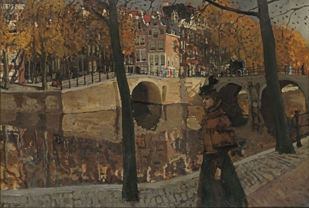 George Hendrik Breitner (1857-1923), Gezicht op de Keizersgracht, hoek Reuguliersgracht, te Amsterdam, ca. 1895, olieverf op doek, 79 x 115 cm, particuliere collectie