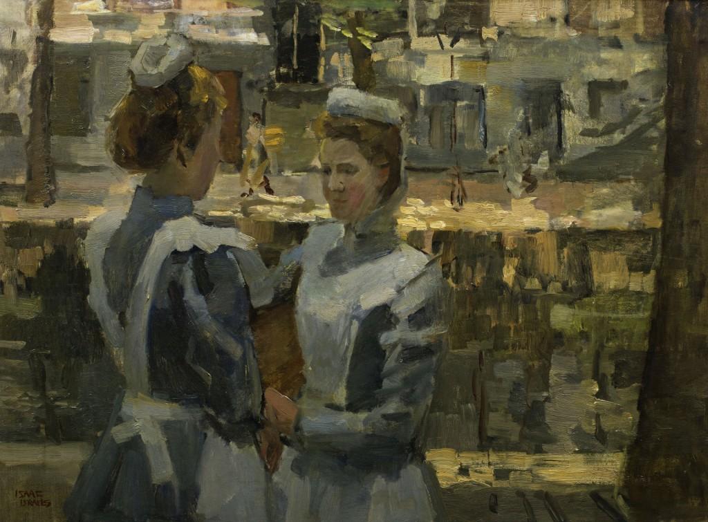 Isaac Israëls (1865-1934), Dienstmeisjes op de Leidsegracht, olieverf op doek, 60 x 81 cm, Groninger Museum