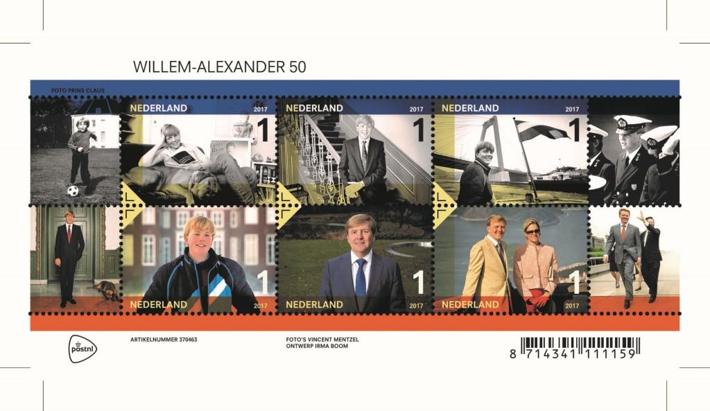 Drukvel postzegels vijftig jaar Willem-Alexander