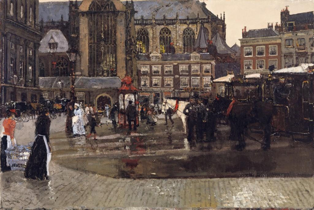 George Hendrik Breitner (1857-1923), De Dam (De Nieuwe Kerk te Asterdam), 1891, olieverf op doek 102 x 152,5 cm, Singer Museum Laren