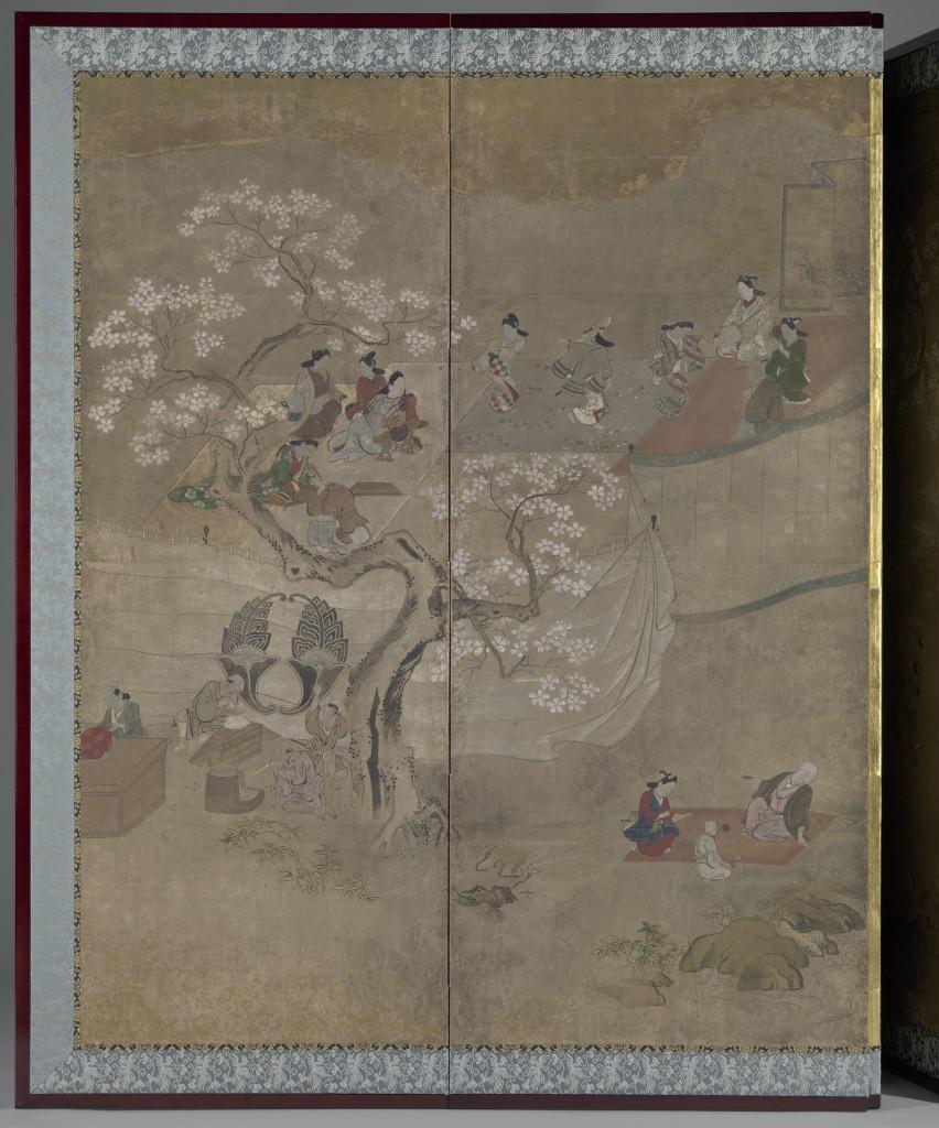 Vermaak bij de kersenbloesems, anoniem, 1675-1725, bruikleen Vereniging van Vrienden der Aziatische Kunst, 1972, detail
