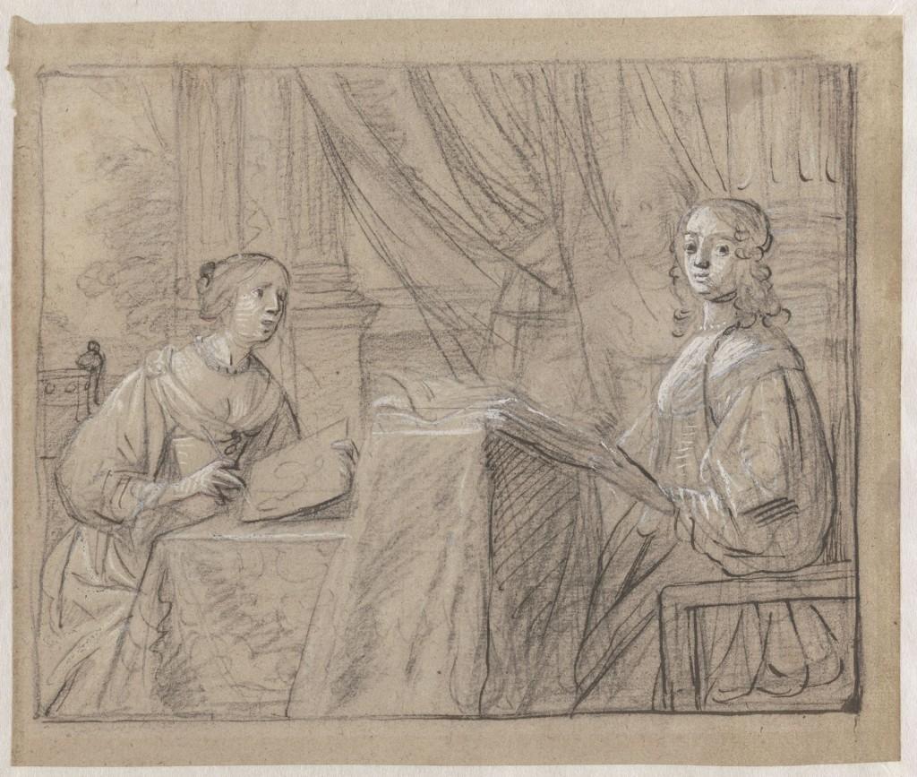 Gerard van Honthorst (1592-1656): De tekenles, ca 1640, Teylers Museum, Haarlem. Zeer waarschijnlijk een studie voor een schilderij van dochters van Frederik V van de Palts en Elizabeth Stuart, verdreven vorstenpaar uit Bohemen, in ballingschap in Den Haag