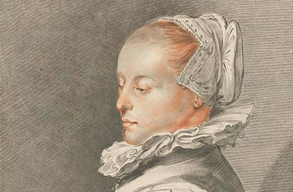 Vermeend portret Maria Tesselschade naar de originele prent van een jonge vrouw door Hendrick Goltzius uit 1612, prentmaker Johannes Körnlein onder supervisie Cornelis Ploos van Amstel, 1770