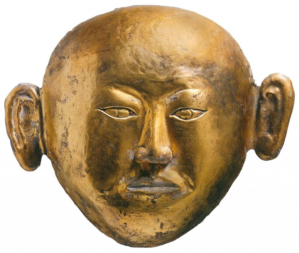 Gouden dodenmasker uit het graf van de prinses van Chen, 1018 na Chr., collectie Inner Mongolia Museum, Hohot (China)