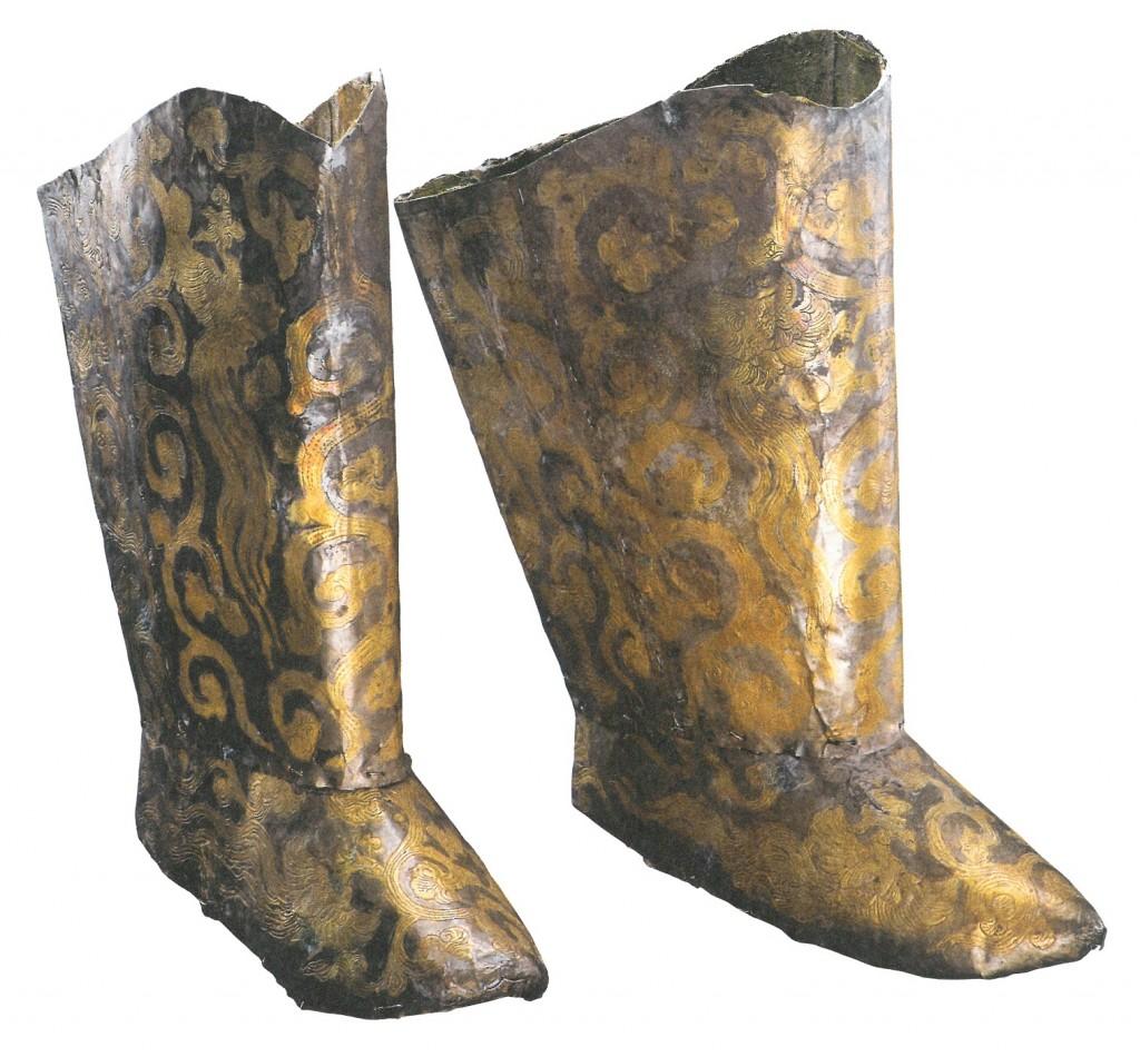 Verguld zilveren laarzen uit het graf van de prinses van Chen, 1018 na Chr., collectie Inner Mongolia Museum, Hohhot (China)