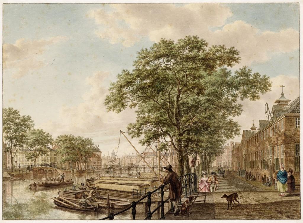 Jacob Cats, Amstel met rechts het Diaconie Oude Vrouwen-en Mannenhuis (Amstel 51), nu de Hermitage Amsterdam, 1795, Stadsarchief Amsterdam, Collectie Atlas Splitgerber
