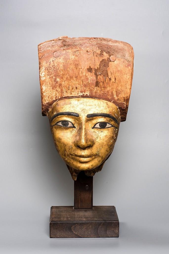 Sarcofaag masker, verguld hout, Egypte, Nieuwe Rijk, kunsthandel Mieke Zilverberg, PAN Just Justa fotografie