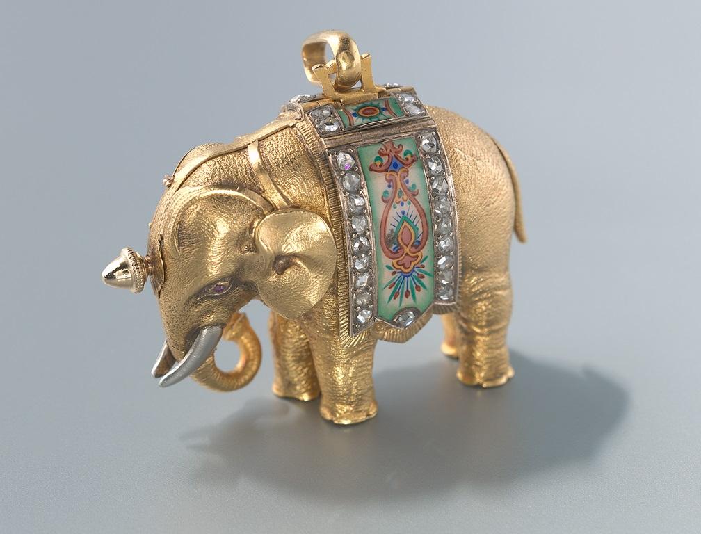 Fantasiehorloge met cilindergang in de vorm van een olifant, Parijs, ca. 1860, goud, email, diamant en robijnen, collectie Lopez Suasso