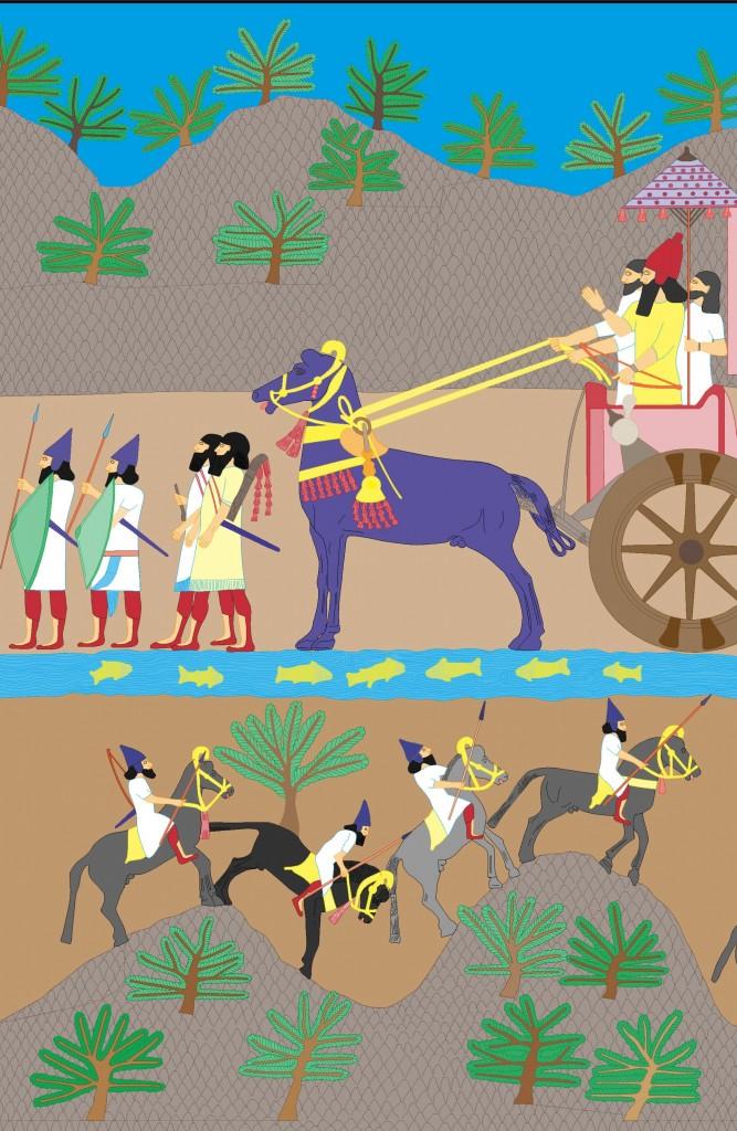 Reconstructie van de kleuren op een Assyrisch reliëf in het paleis van koning Sennacherib, gebouwd rond 704 v. Chr. Illustratie: c Rijksmuseum van Oudheden