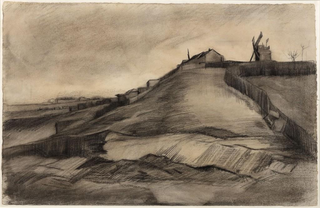 Vincent van Gogh, De heuvel van Montmartre met steengroeve, maart 1886, zwart krijt, geveegd en gegumd, witte dekkende waterverf, op vergépapier met watermerk APL BAS, 30,9 x 47,7 cm, collectie Van Vlissingen Art Foundation