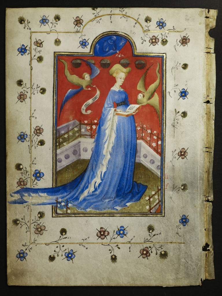 Gelre, ca. 415, perkament, 18,4 x 13,2 cm, Berlin, Staatsbilbiothek zu Berlin. God zendt Maria van Gelre de Heilige Geest, twee engelen vergezellen haar. De staande houding van de opdrachtgeefster is heel ongebruikelijk en geeft blijk van haar zelfbewuste houding.