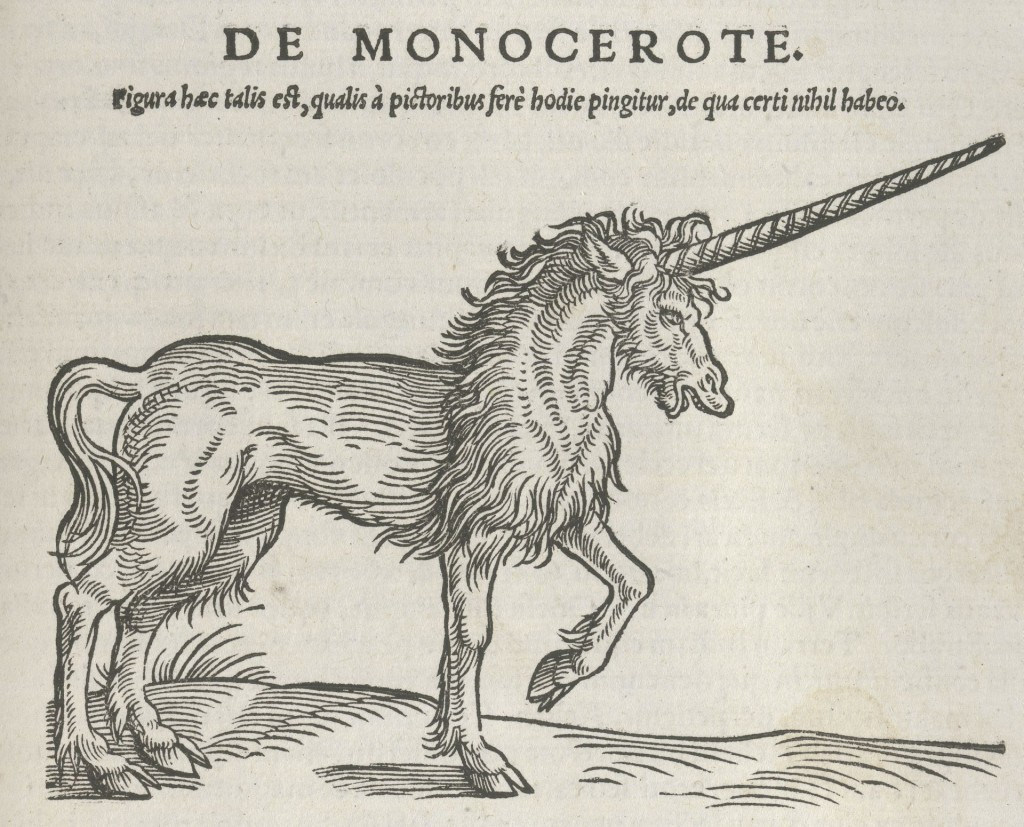 Houtsnede eenhoorn in Conrad Gessner, Historiae animalium, deel 1 (1551), collectie Teylers Museum Haarlem