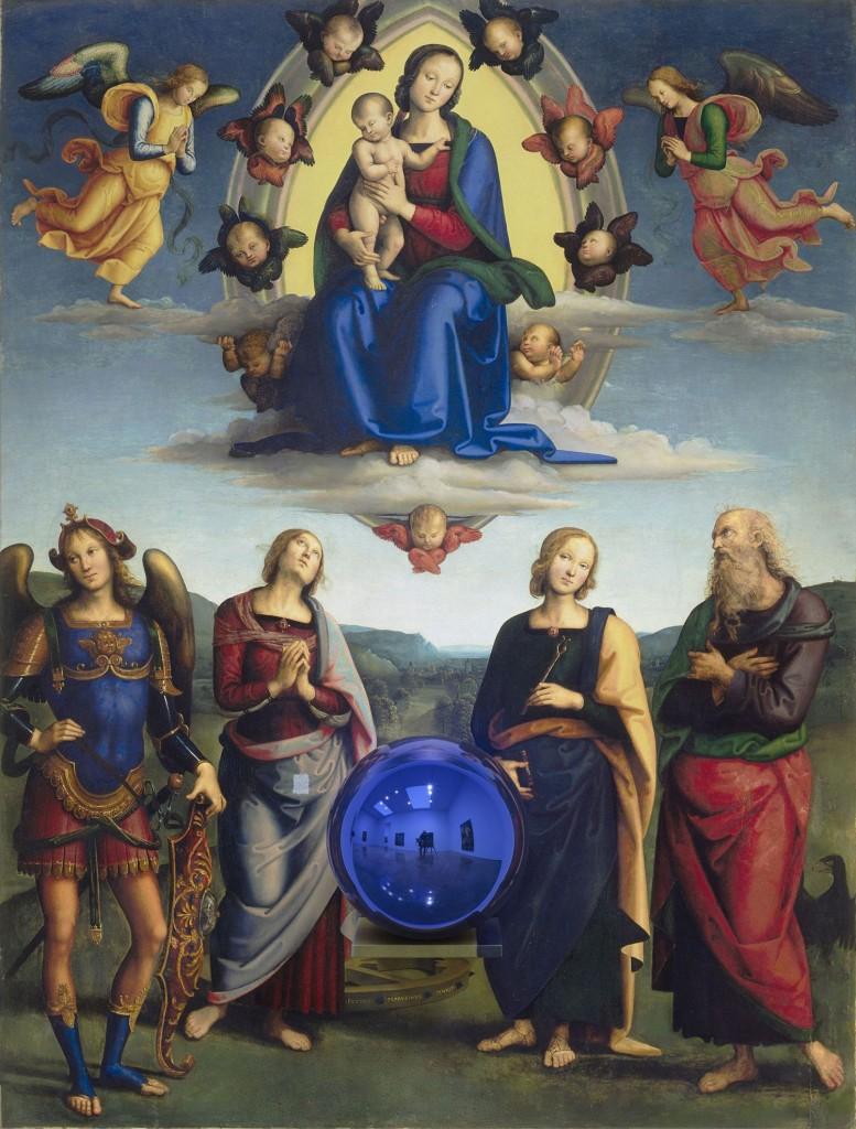 c Jeff Koons,Gazing Ball (Perugino Madonna and Child with Four Saints), 2014-15, olieverf op doek, glas,aluminium,179,7 x 136,5 x 37,5 cm, eigendom van Jeff Koons