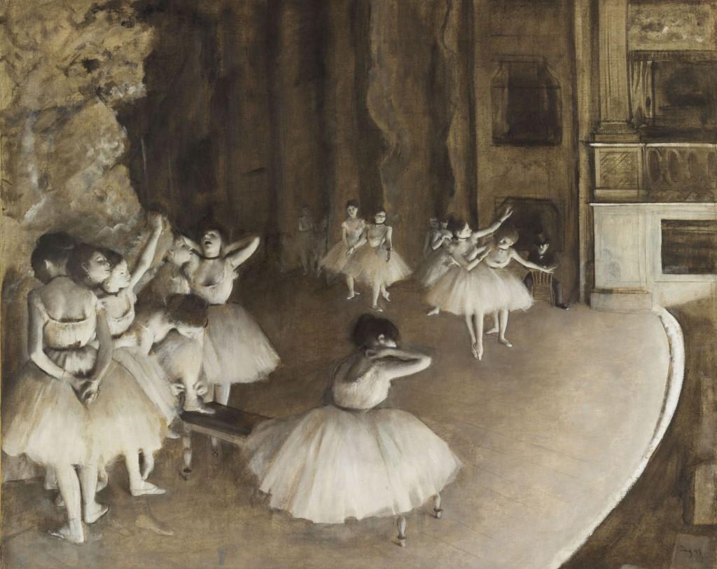 Edgar Degas Ballettprobe auf der Bühne, 1874 Rehersal on Stage Öl auf Leinwand, 65 × 81 cm Paris, Musée d'Orsay, legs du comte Isaac de Camondo, 1911