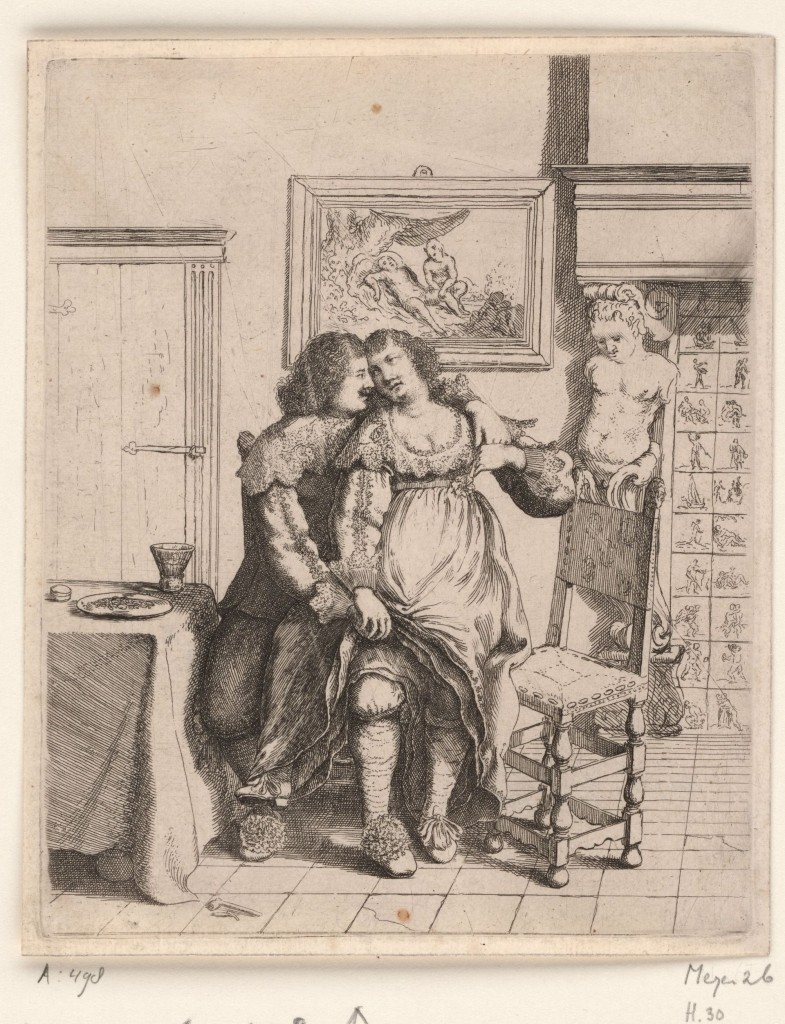 Een vrouw zit op schoot bij een man, Willem Basse, 1634, ets, collectie Rijksmuseum