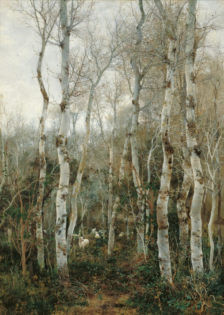 Emilio Sánchez-Perrier, Winter in Andalusia (Poplars and sheep at Alcalá de Guadaíra), 1880, oil on panel, copyright Colleción Carmen Thyssen-Bornemisza