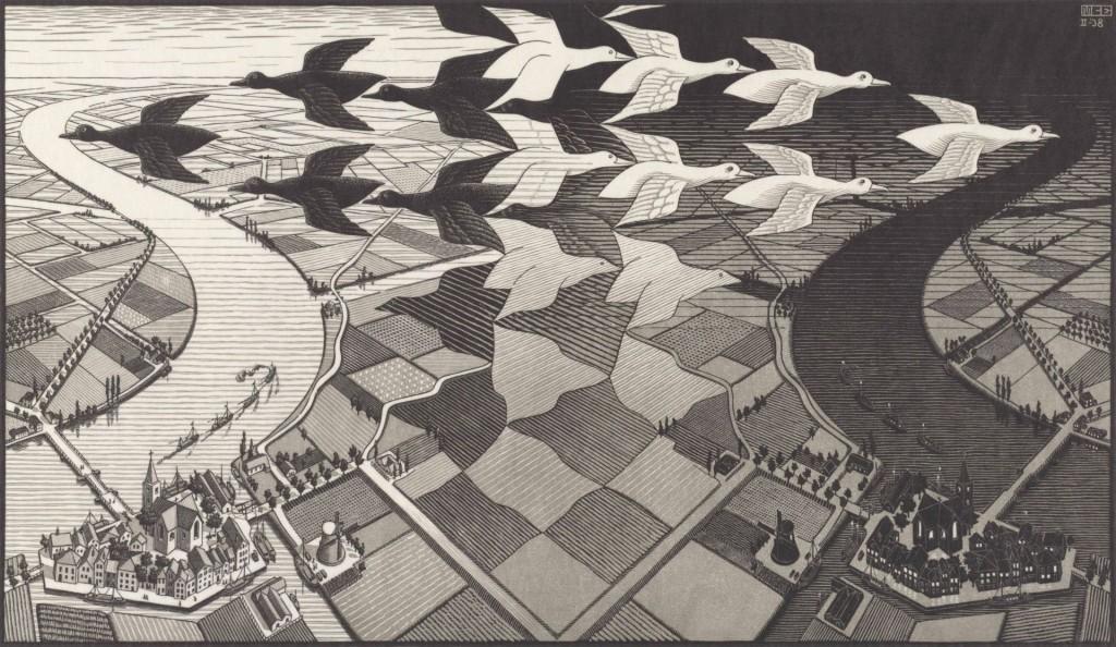 M.C. Escher's 'Dag en Nacht' (1938) C the M.C. Escher Company B.V. All rights reserved. www.mcescher.com. Houtsnede in zwart en grijs, afgedrukt vanuit 2 blokken. 677mm x 391mm. Bruikleen the M.C. Escher Company B.V.