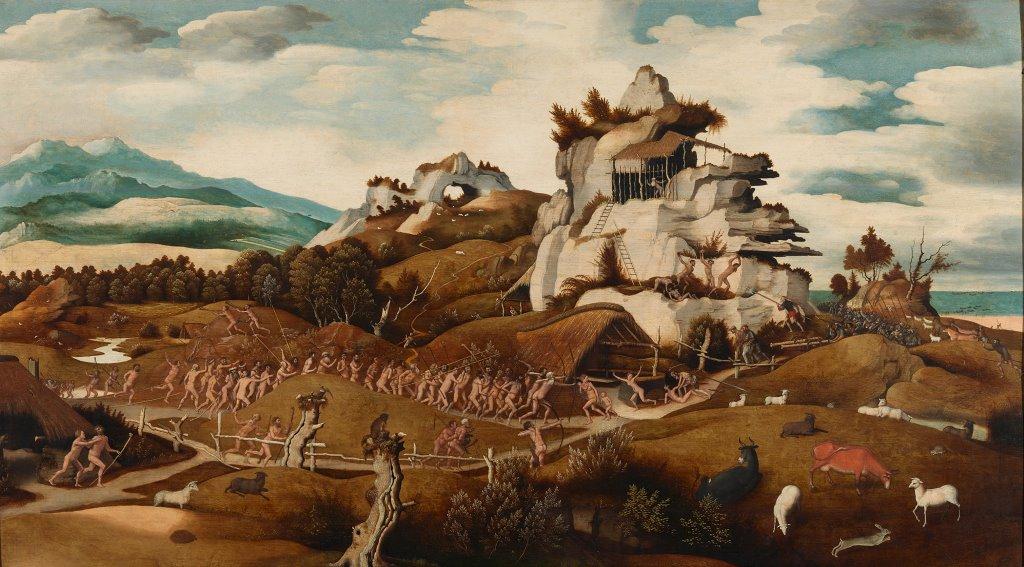 Jan Mostaert plaatste de oorspronkelijke bewoners van Amerika in 1535 naakt in een fantasie-landschap. Foto Rijksmuseum