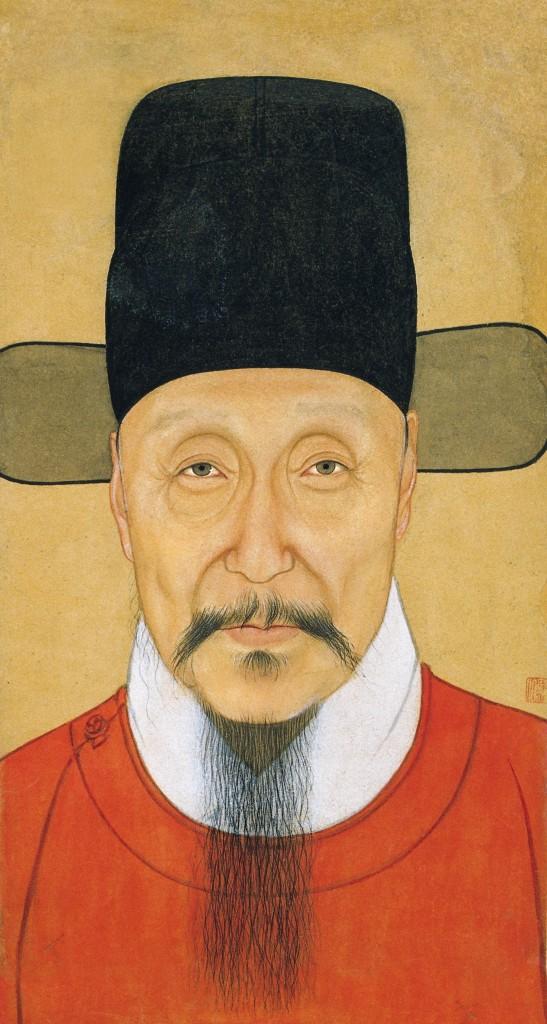 Portret van bevelhebber He Bin, papier, 16de eeuw. FotoL Nanjing Museum/Nomad Exhibitions