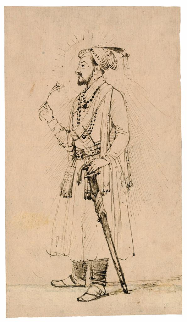 Rembrandt, gewassen tekening in bruine inkt op oosters papier van Shah Jahan, ca. 1656-1661, Fondation Custodia, collectie Frits Lugt
