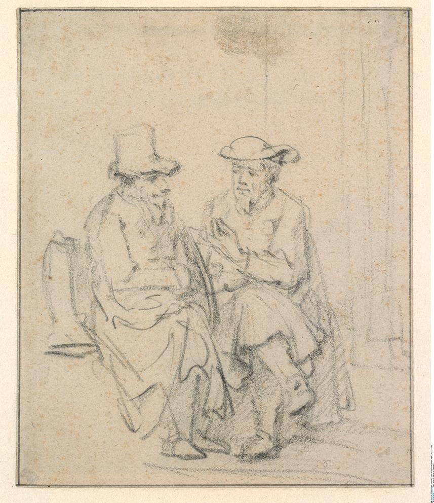 Rembrandt, Twee zittende mannen in gesprek, Berlijn, Staatliche Museen, Kupferstichkabinet. Foto Museum Het Rembrandthuis