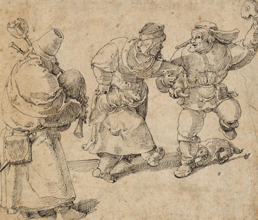 Dansend boerenpaar en doedelzakspeler, ca. 1525-30, toegeschreven aan Aertgen Claesz van Leyden, foto Boymans Van Beuningen