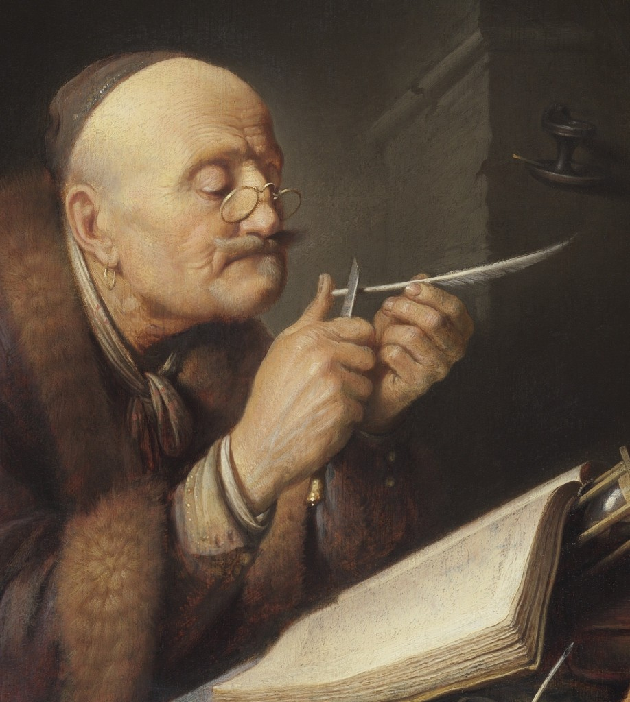 Gerrit Dou, Geleerde die zijn pen snijdt, 1630-1635, The Leiden Collection NY