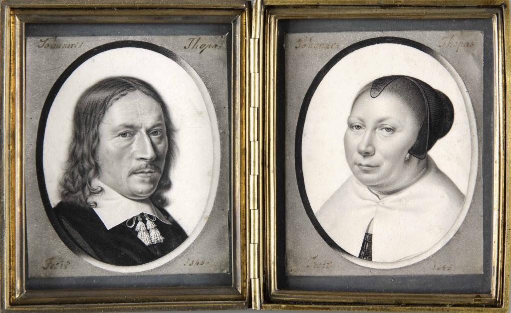 Twee portretten van een man en een vrouw, Johannes Thopas, 1646, Fondation Custodia, foto Museum Het Rembrandthuis