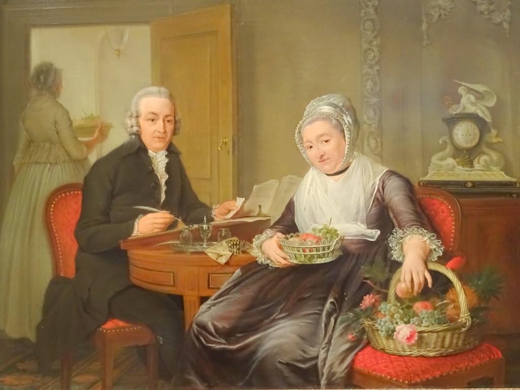 Nicolaas Muys, Adrianus Cornelis Oudorp en zijn vrouw Cathaina Maria de Monté, met wellicht hun dienstbode Kaatje op de achtergrond. Kaatje kreeg een flink deel van de erfenis. Westfries Museum in Hoorn, langdurig bruikleen aan Museum Rotterdam