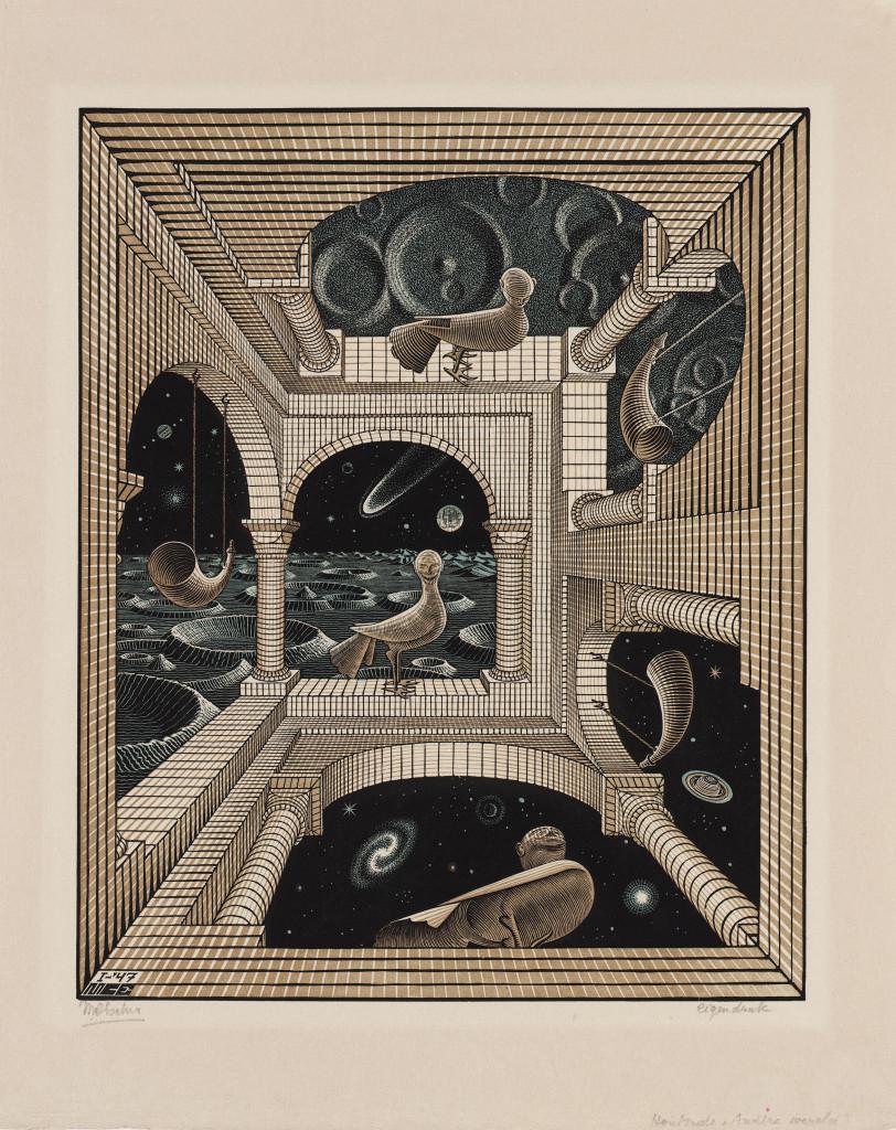 Andere Wereld, Maurits Escher, houtgravure, 1947, toont 'sporen' van het trappenhuis van zijn HBS in Arnhem, foto Escher in het Paleis