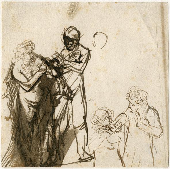 Rembrandt (1606-1669), Adam en Eva, pen in bruin, bruin gewassen, 115x115 mm