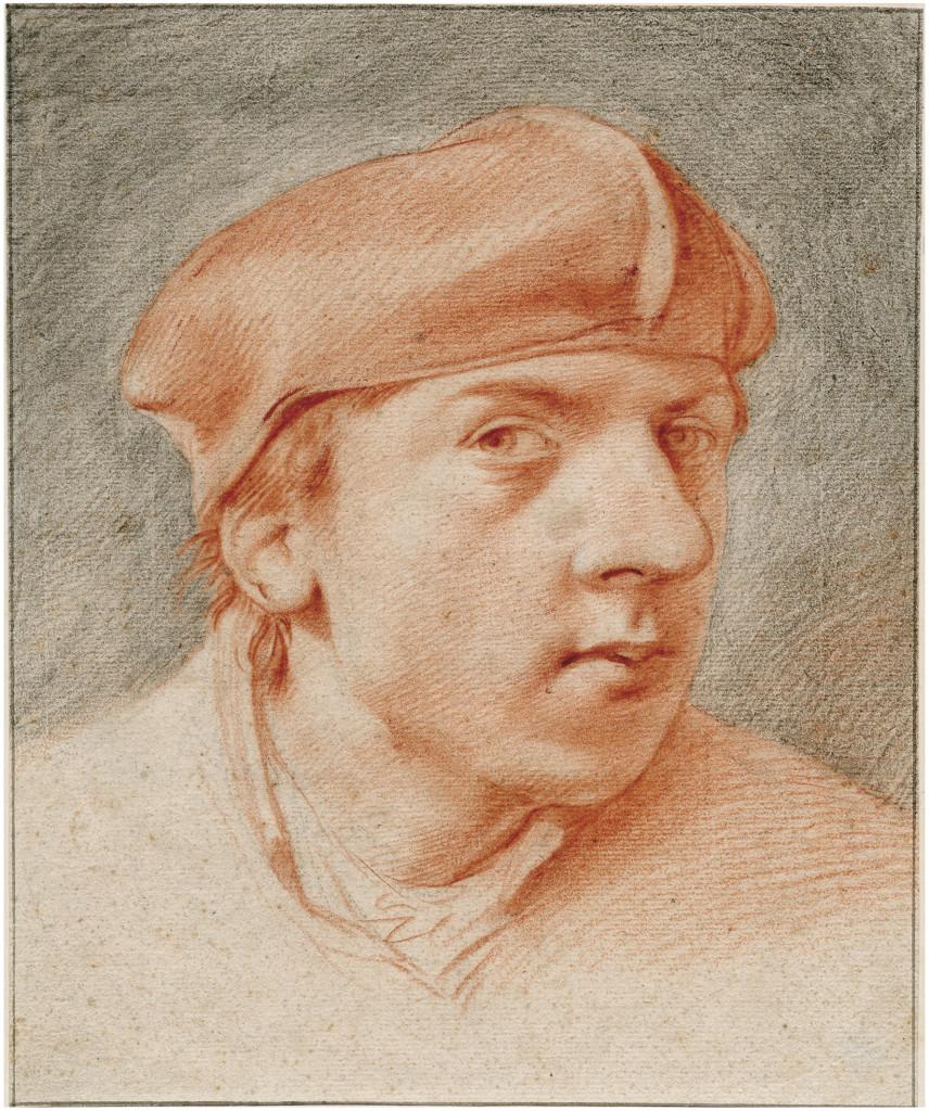 Cornelis Bega (1631/2-1664), Zelfportret met baret, rood en zwart krijt, 261x216 mm