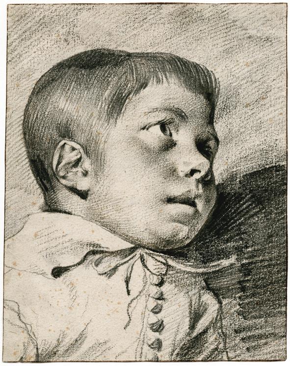 Leendert van der Cooghen (1632-1681), Studie van een omhoog kijkende jongen, zwart krijt en geolied zwart krijt, 225x204 mm