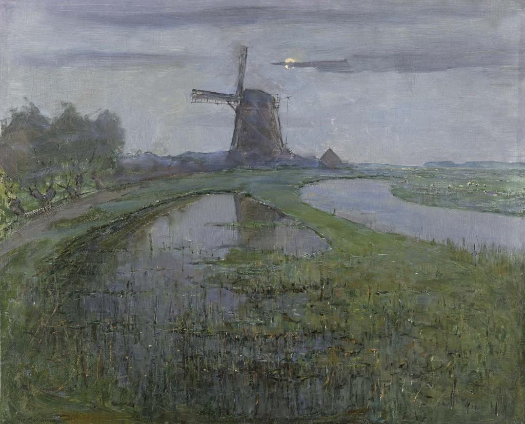 Oostzijdse molen aan het Gein bij maanlicht, Piet Mondriaan (1872-1944), 1903, collectie Rijksmuseum