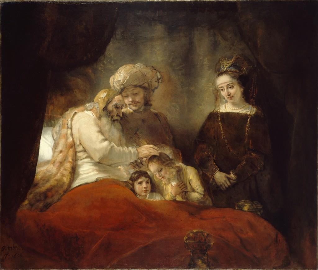Jacob zegent de zonen van Jozef, Rembrandt ca 1665-1658, Gemäldegalerie Alte Meister, Staatliche Museen Kassel. Op de expositie ondergebracht in de zaal met het thema 'verzoening'