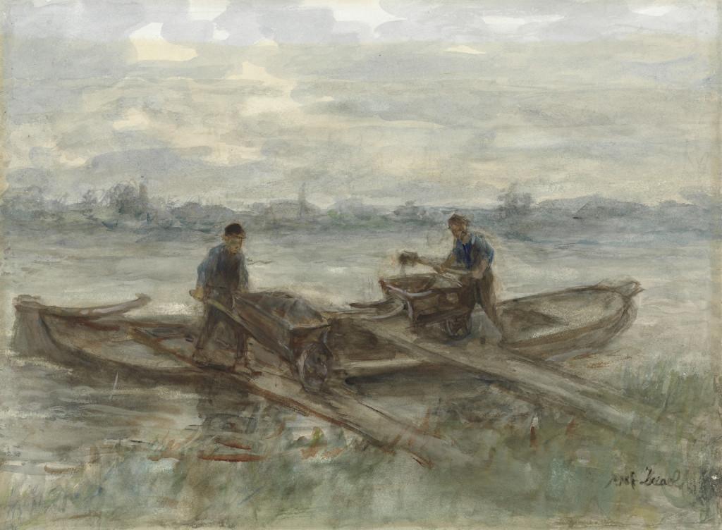 Jozef Israëls (1824-1911), Baggerlui, 1895, aquarel, 67 x 80 cm, De Mesdag Collectie, Den Haag. Hendrik Willem Mesdag betaalde er maar liefst 7500 gulden (3403 euro) voor.