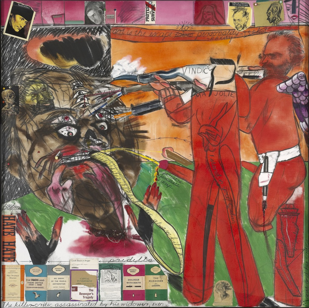 R.B. Kitaj, The Killer-Critic Assasinated by his Widower, Even, 1997, olieverf en collage op doek. Astrup Fearnley Collection, Oslo, Foto Thomas Widerberg, c R.B. Kitaj Estate